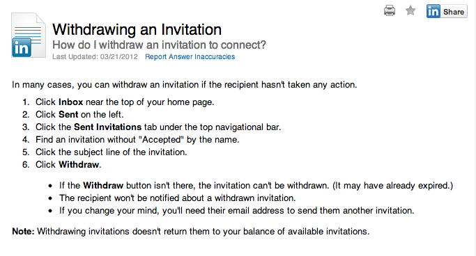 Withdrawing an invitation on LinkedIn
