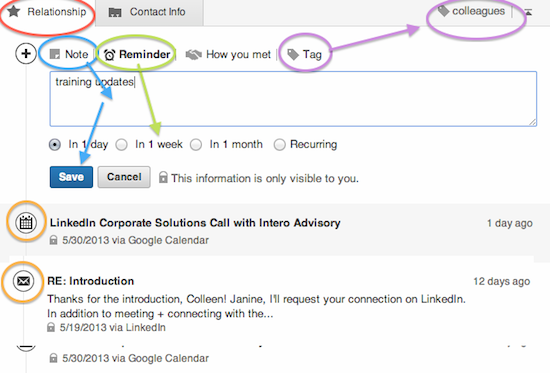 LinkedIn relationship tab