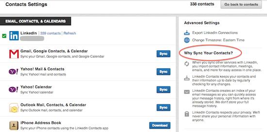 LinkdedIn Contacts Settings