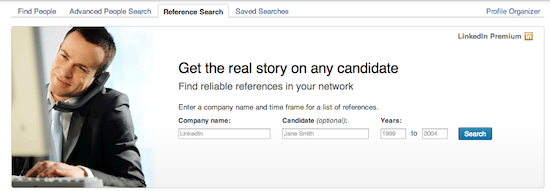 LinkedIn reference check search