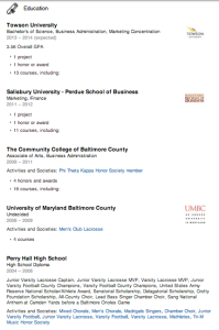 Example 2 of Education experience section on LinkedIn.