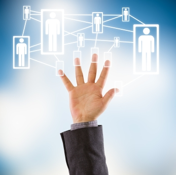 Business hand showing five fingers connected to a virtual social network