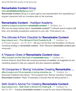 Google results remarkable content