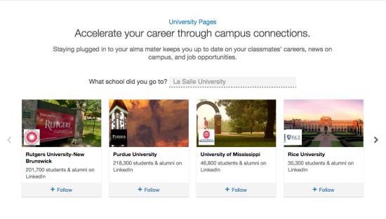 University Pages on LinkedIn
