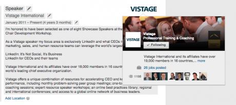 Vistage LinkedIn Company Page