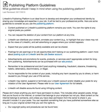LinkedIn Guidelines for publishing