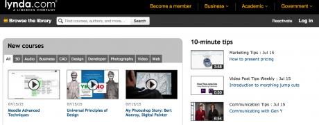 Lynda.com dashboard