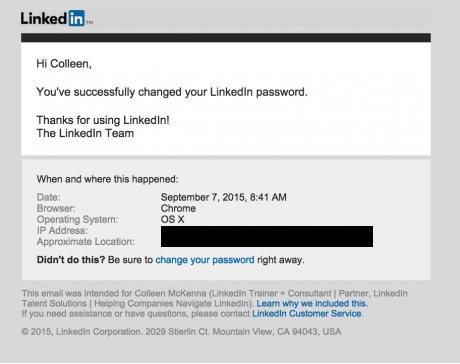 Update your LinkedIn password