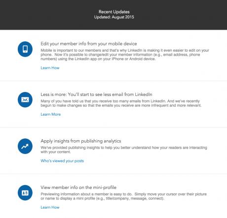 current LinkedIn updates