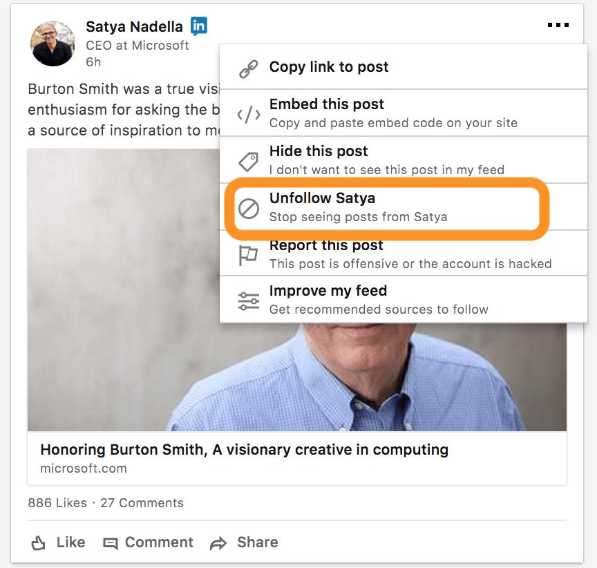 LinkedIn Follow or Unfollow