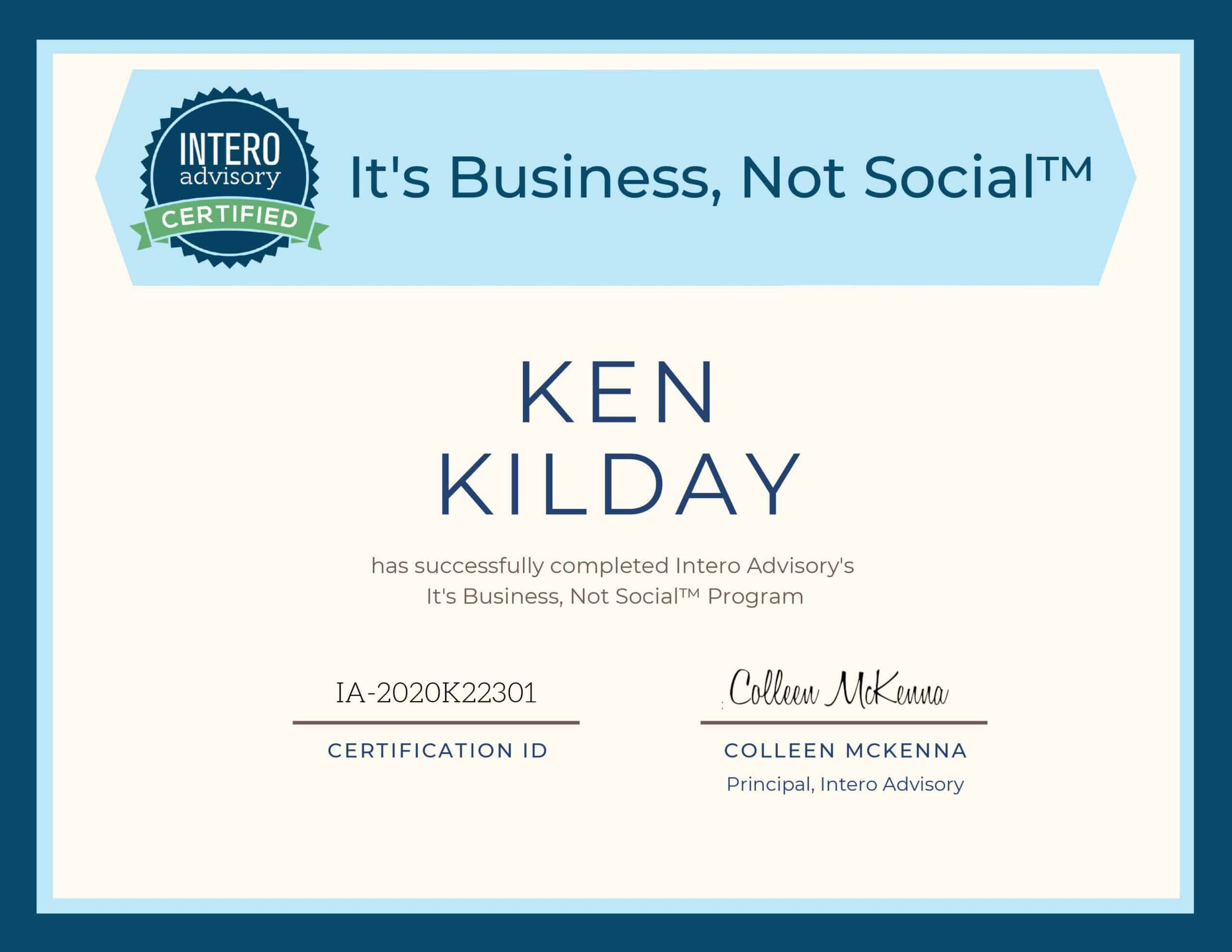 Intero Advisory It's Business not Social Certificate