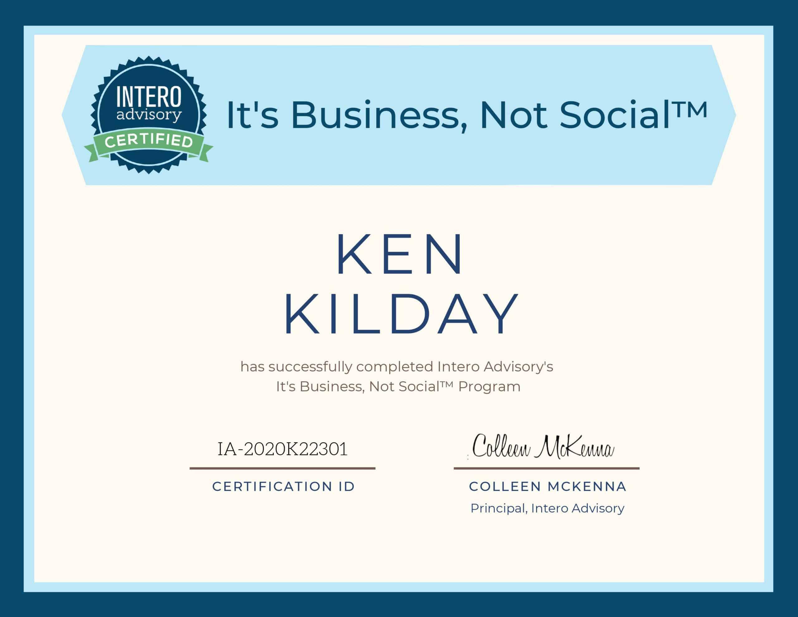 Intero Advisory It's Business not Social Certificate